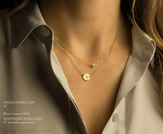 Delicate Pearl Necklace Minimal Suspended Pearl by LayeredAndLong