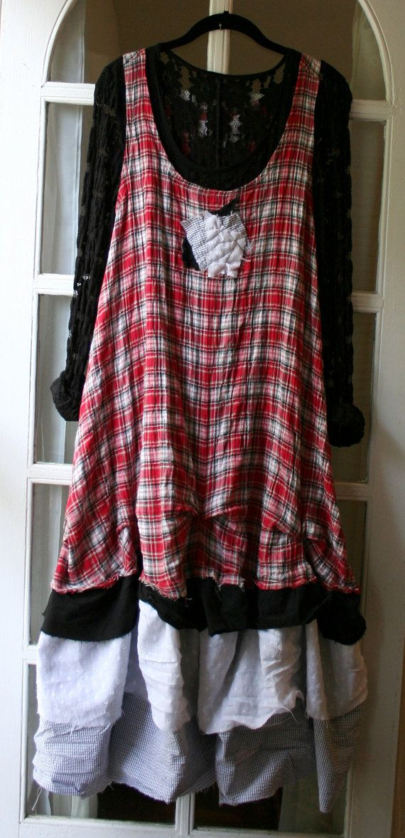 Bohemian Clothing / 'Maryse' Dress / Red Plaid Lagenlook Jumper Dress