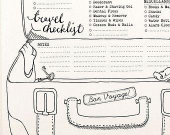 DOODLE Travel Checklist / Packing Planner / Organizer