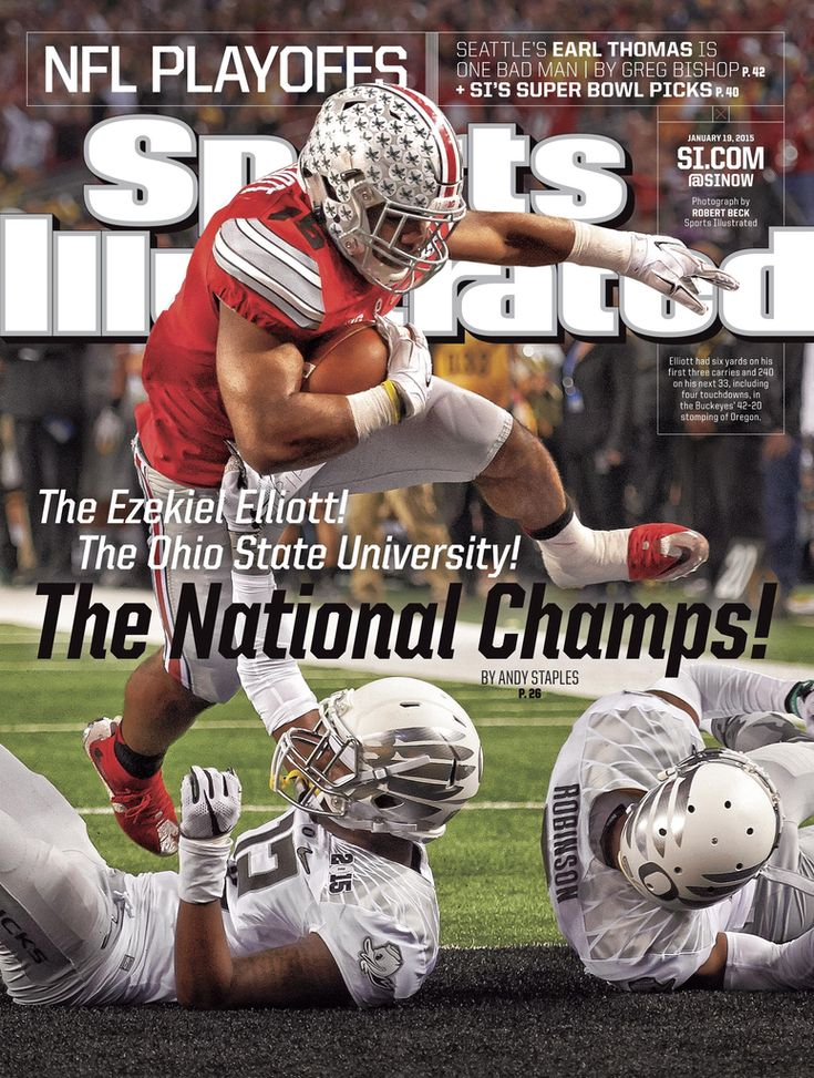 History is made - The Ohio State Buckeyes, National Champions in first ever College Football Playoffs (1/12/15)  http://www.sbnation.com/college-football/2015/1/13/7536957/ohio-state-championship-sports-illustrated-newspaper-covers