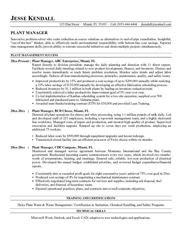 Power Plant Manager Resume - The best expert's estimate