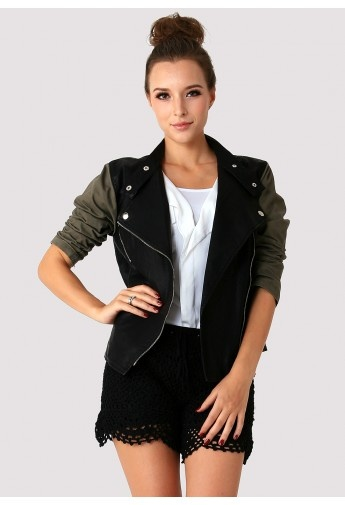 Contrast Sleeves Faux Leather Motorcycle Jacket by Chic+