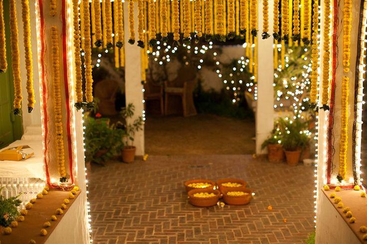 marigold wedding garland decor