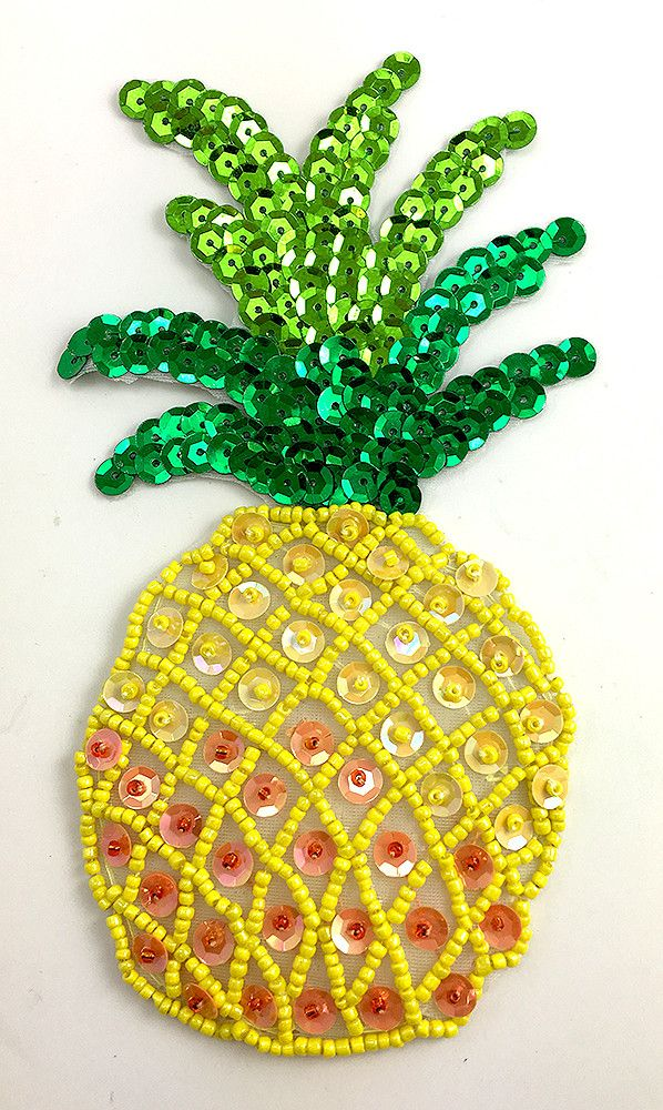 "Pineapple with Yellow Peach Green Sequins and Beads Small 5.5"" x 3"""
