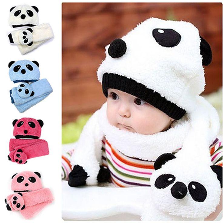 2015 горячих малышей младенческой девочка мальчик шапочка зимняя шапка шапка + шарф комплект панда мультяшном стиле полушерстяные двухкусочный комплект 4 цветов