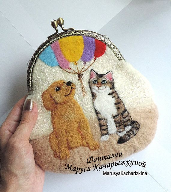 Handmade felted wallet purse with dog and by MarusyaKacharizkina ♡
