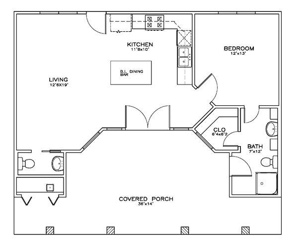 Cottage Craftsman Level One of Plan 59347