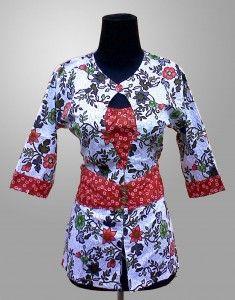 Baju Batik Wanita Cantik Terbaru Motif Bunga Warna Merah Kode KM 143 SMS ke 082134923704