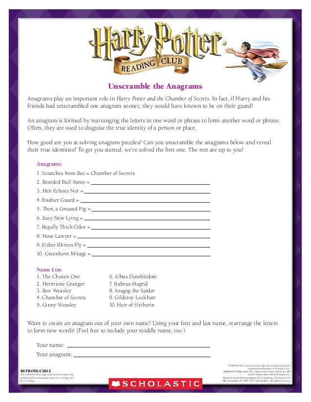 ANAGRAMS: Can you unscrable these anagrams of Harry Potter characters? Download by clicking the image above! For more activities visit  www.scholastic.com/hpread #HarryPotter #HPread