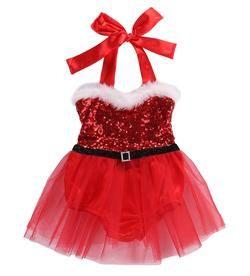 Christmas Newborn Infant Baby Girls Rompers Jumpsuit Santa Tutu Lace Dress XMAS Outfits Costume