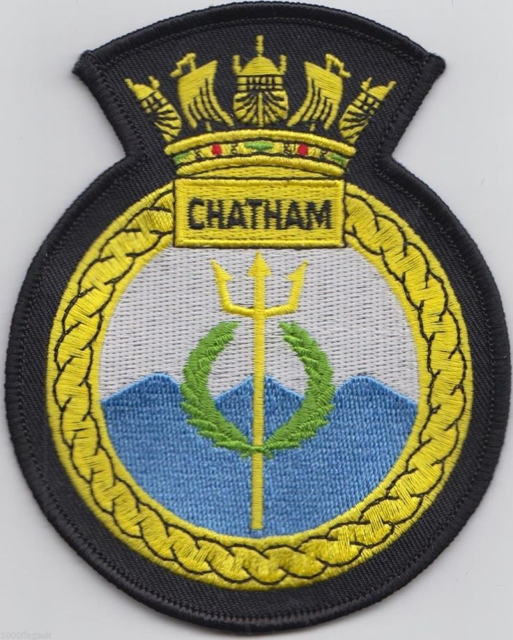 HMS Chatham Royal Navy Embroidered Crest Badge Patch - MOD Approved