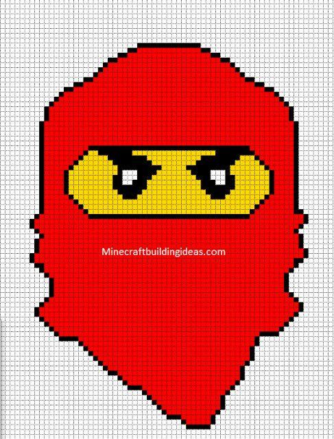 Minecraft Pixel Art Templates: Lego ninjago red