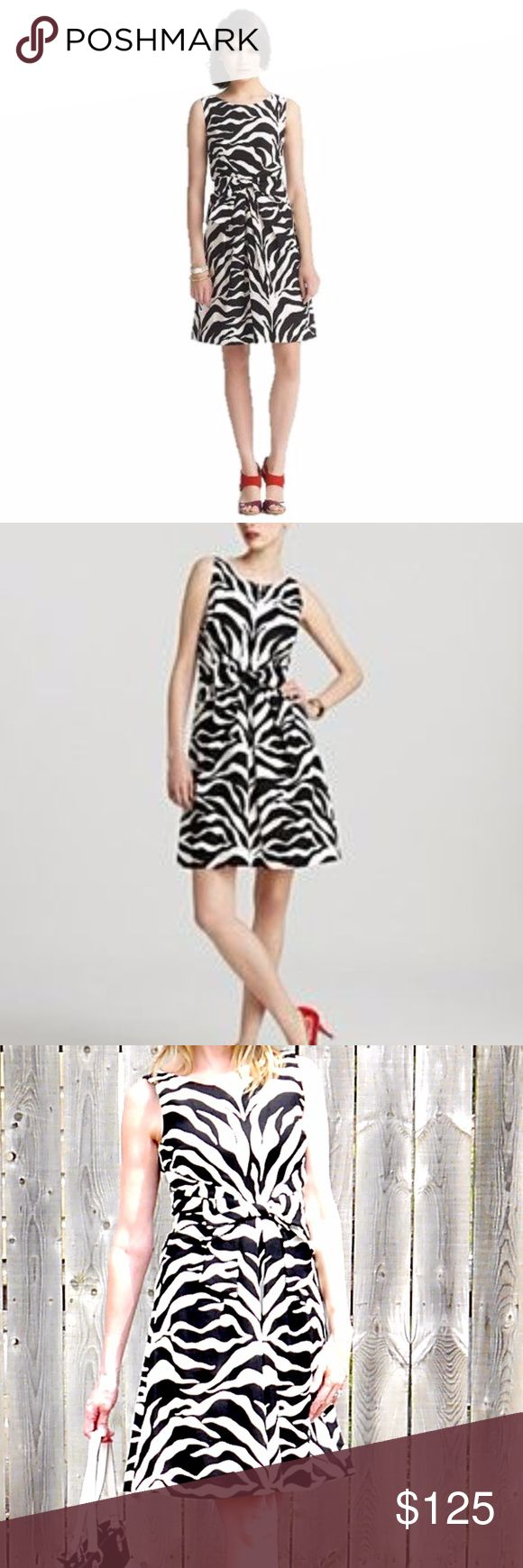 "Kate Spade Jillian Zebra Dress Size 6 This Spring 2012 edition of the kate spade new york jillian dress is made from lightweight linen and sports a wild zebra print. Black/white zebra print. Concealed zip closure at back. Size 6 Scoop neckline; sleeveless. Bow detail. Front slash pockets. A-line skirt. Back zip. 100% Linen. Lining 100% Cotton Waist: 30"" Length: 39"" Hip: 34"" Bust: 32"" kate spade Dresses Midi"