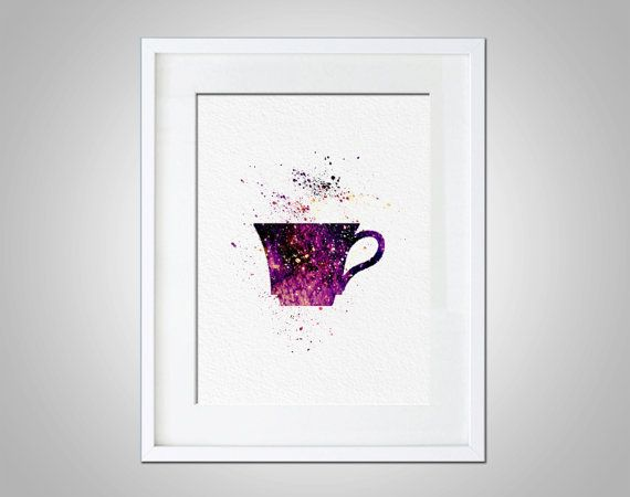 Watercolor Art Purple Tea Cup gift Modern 5x7 8x10 by AmourableArt Watercolor Art Purple Tea Cup gift Modern 5x7 8x10 Wall Art Decor Purple Tea Pot Wall Hanging Print Galaxy Print Tea Room Print Dorm Decor