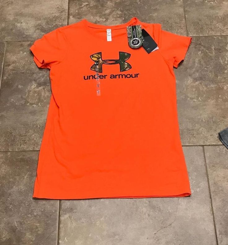 Under Armour Ladies T-Shirt Size Medium Orange & Camo Print Logo NEW WITH TAGS M #UnderArmour #GraphicTee
