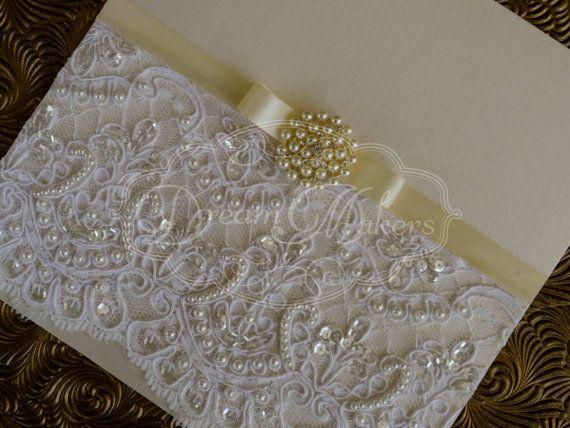 Vintage Lace Invitation Mirey by DreamMakersInvites on Etsy, $650.00