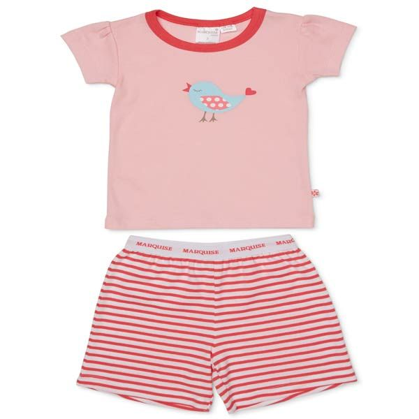 The Marquise Birdy pjs. pink tee and stripe shorts. Perfect for Summer night!  Marquise has lovingly provided Australian babies with their first clothes and nursery accessories since 1932.  With dedication Marquise provide comfort and classic quality we look forward to caring for generations to come.  Warm machine wash and do not tumble dry.