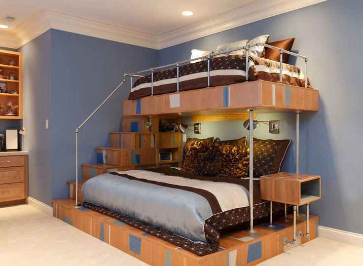 Unique Bunk Beds Kids Contemporary With Blue Bedding Blue Walls