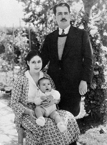 Post revolutionary presidente (1934-40) Lázaro Cárdenas del Rio with wife, Amalia Solórzano y (now noted Mexican politician) Cuauhtémoc Cárdenas. Mexico