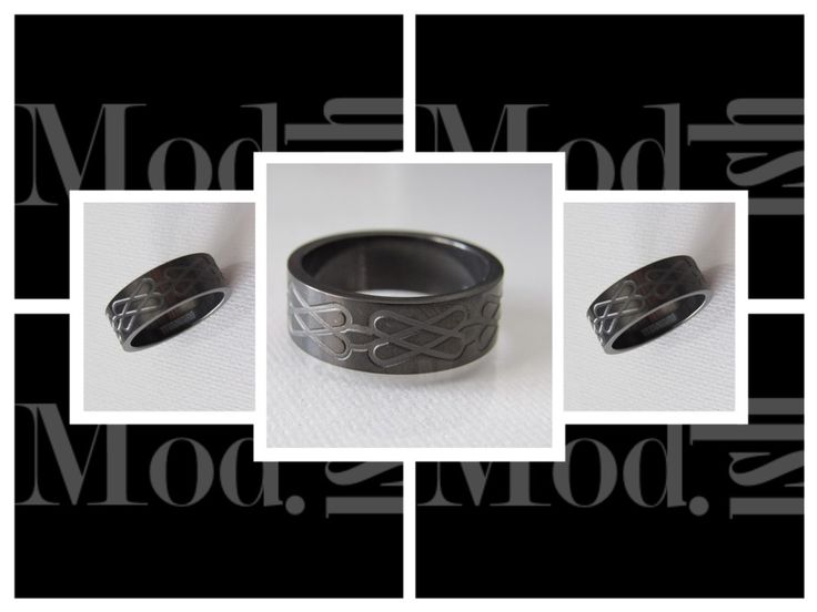 New Modern Bold 8MM Wide Truly Solid Marked Titanium Infinite Band Ring Wedding