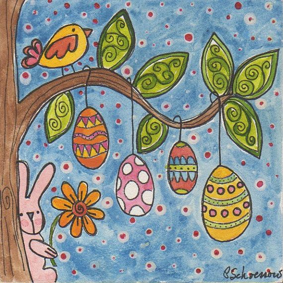 Egg Tree original Easter Bunny painting by Pam Schoessow, mini art, Spring painting, folk art, children's art, nursery art, watercolor art