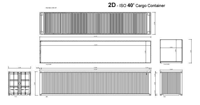 Shipping Container Home - RSCP - Shipping Container 40' 2D Drawing