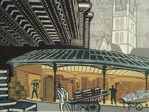 """Borough Market"" ~ Edward Bawden  (English,1903 - 1986)"