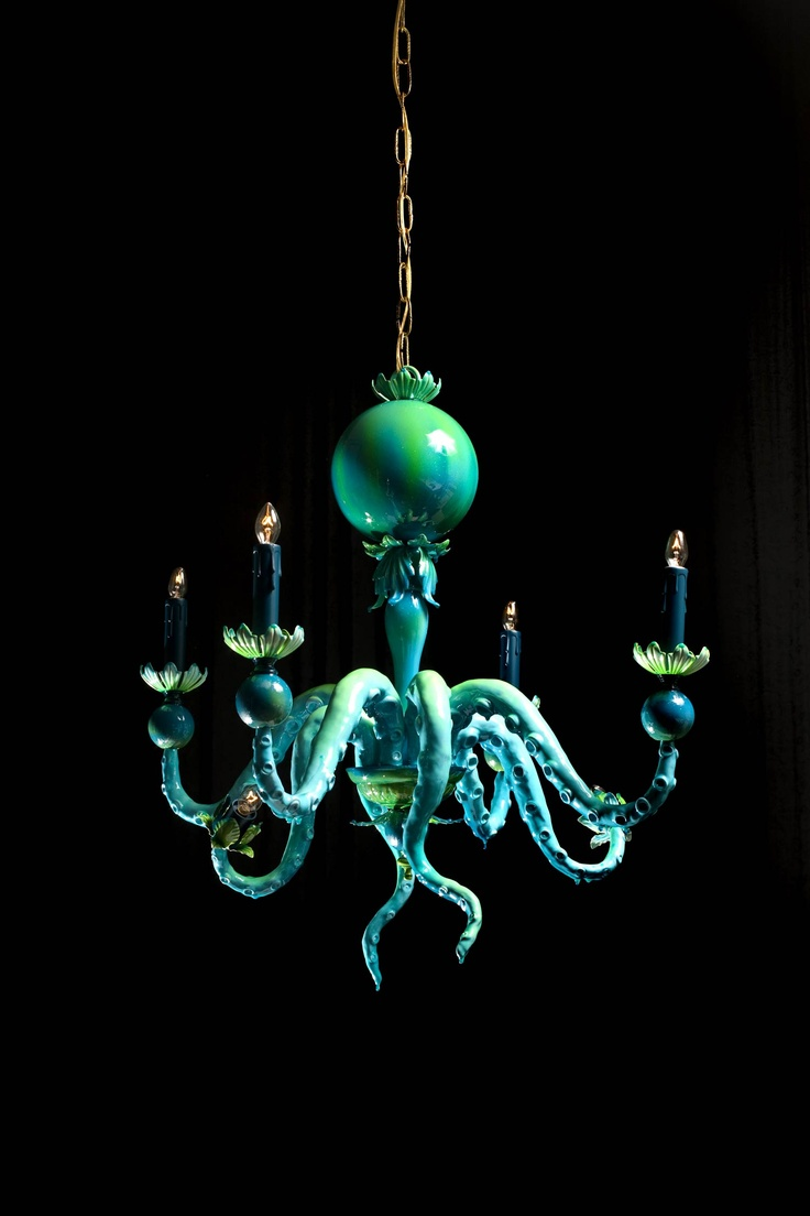 "Adam Wallacavage, ""Last Days of a One Trick Pony"", chandelier composed of resin, clay, lamp parts #octopus #sea #creature #lighting #decor"