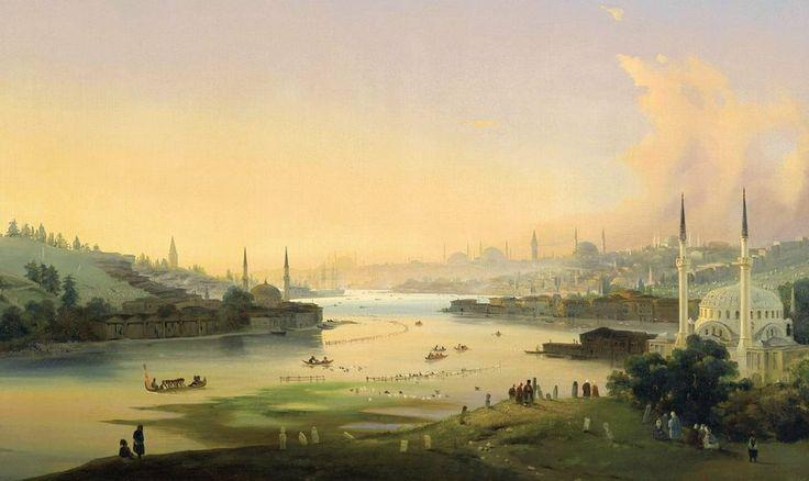 İstanbul'un resmi bile altın! Londra'daki Sotheby's Müzayede Salonu'nda oryantalist eserlerin satışa çıkarıldığı açık artırmada, 19. yüzyıl Türkiye'sini yansıtan 3 tablo toplam 3 milyon liraya alıcı buldu  KİMLİK KARTI: RESSAM: Ippolito Caffi (1814-1866) RESMİN ADI: 'Haliç'te Gün Doğumu YAPILIŞ TARİHİ: 1844 TÜR: Yağlıboya FİYATI: 941 bin TL