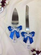 Нож и лопатка для торта, набор, синий