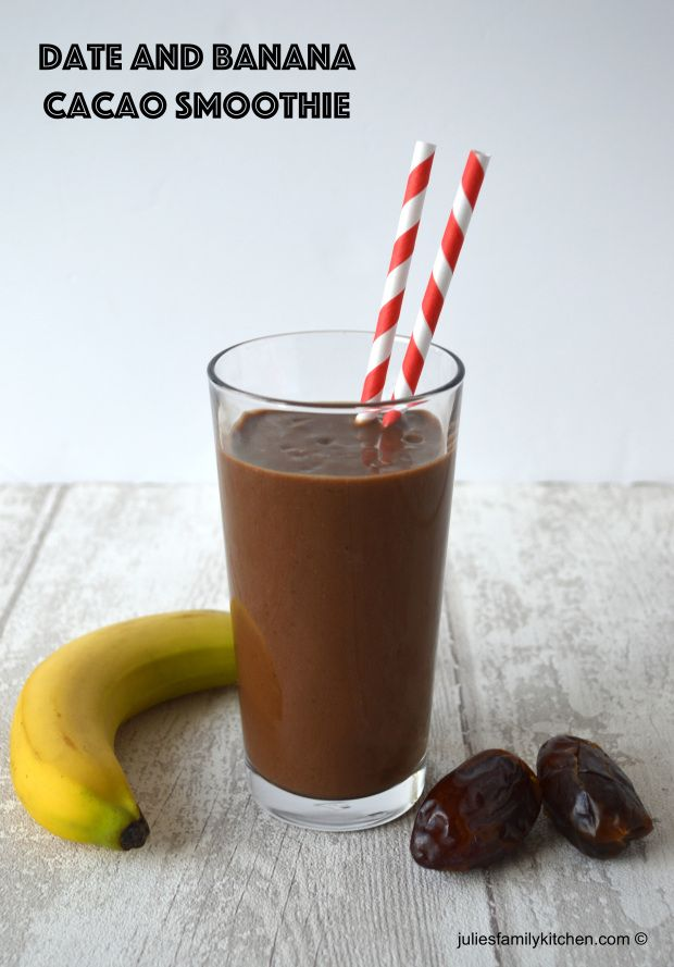Date and Banana Cacao Smoothie, a delicious and healthy smoothie that's perfect on the go.