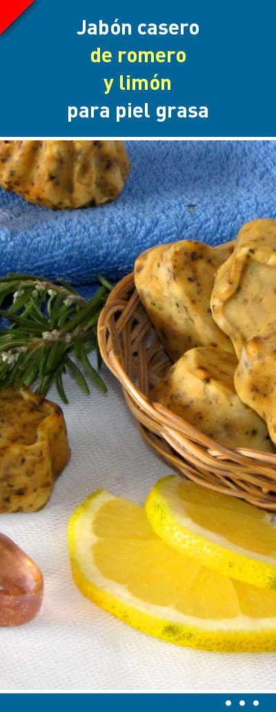 Jabón casero de romero y limón para piel grasa #piel #grasa #jabones #caseros #cosmeticos #diy