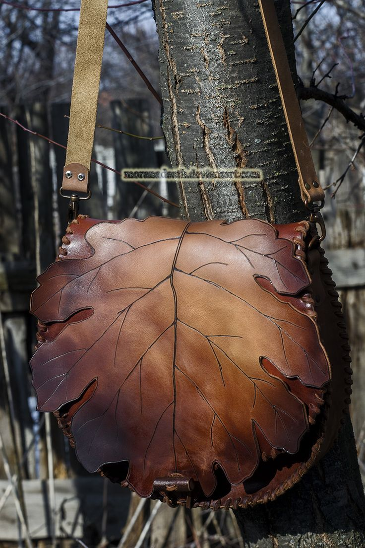 brown hand carved oak leaf purse with toggle faste by MoranaDeath on DeviantArt