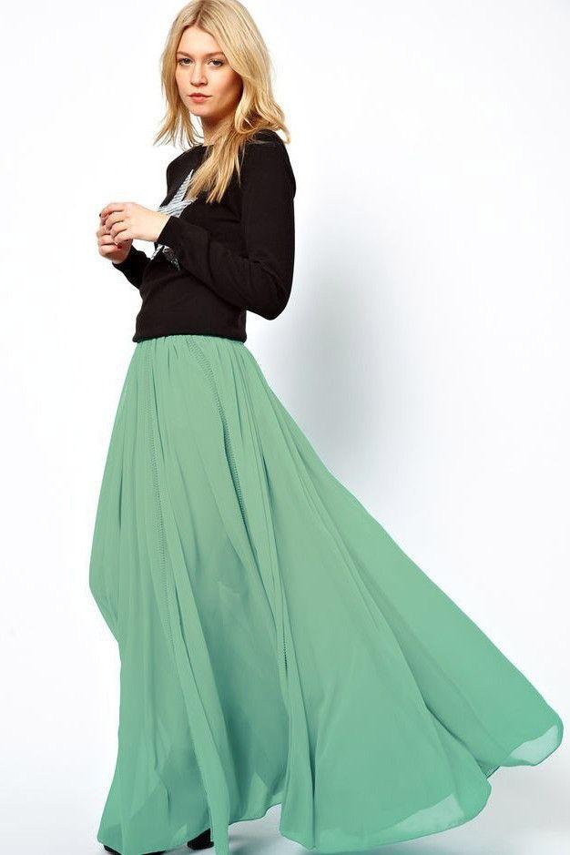 Chiffon Maxi Skirt in Light Mint