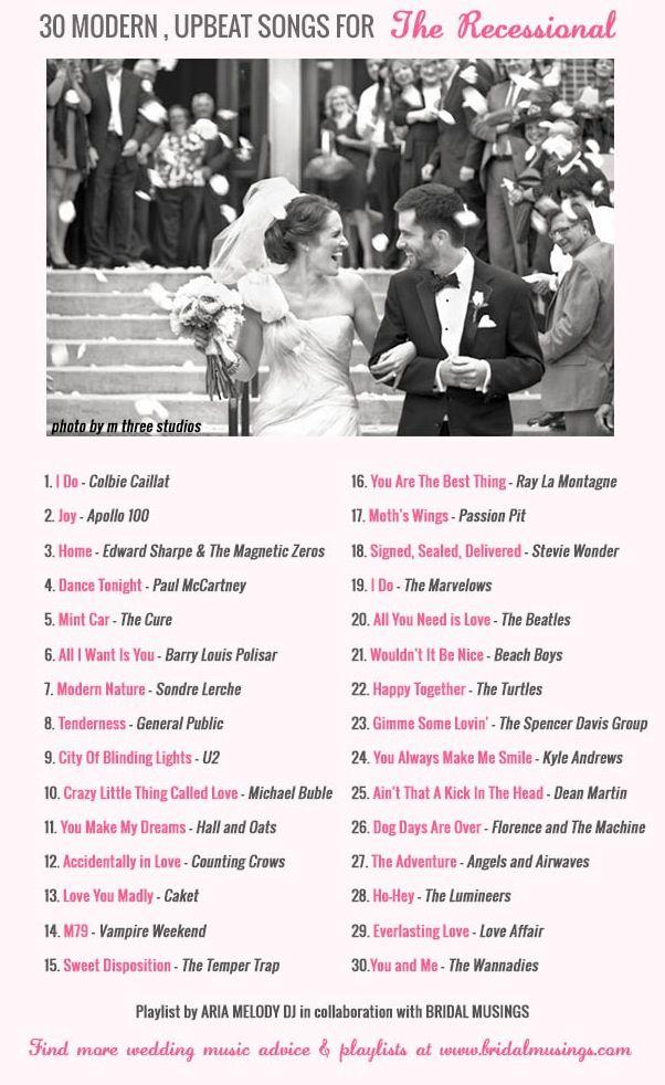 Wedding Music 30 Modern Upbeat Recessional Songs Weddings