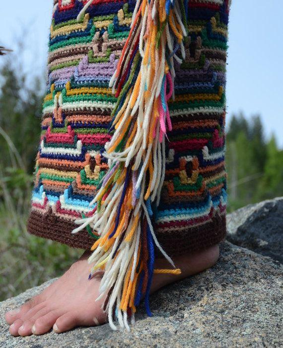 Gehaakte broek Azteekse kant Fringe XL van LordvonSchmitt op Etsy