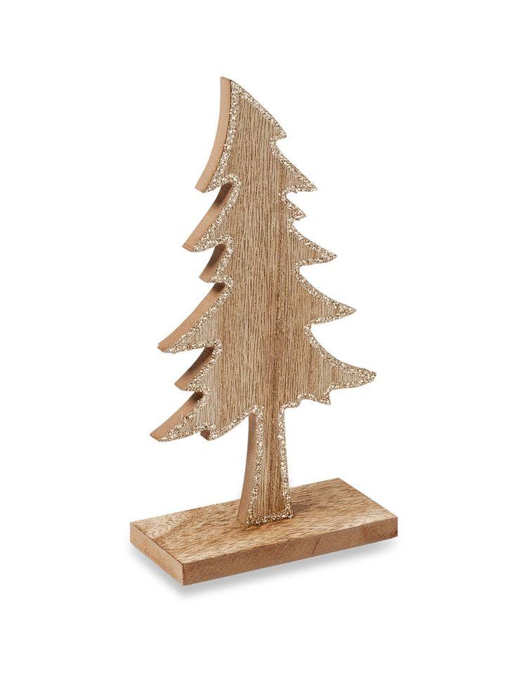 Abete in legno con paillettes rame da 20 cm