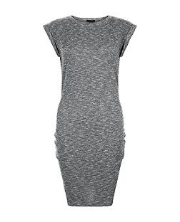 Grey Ribbed Ruch Side Mini Dress  | New Look