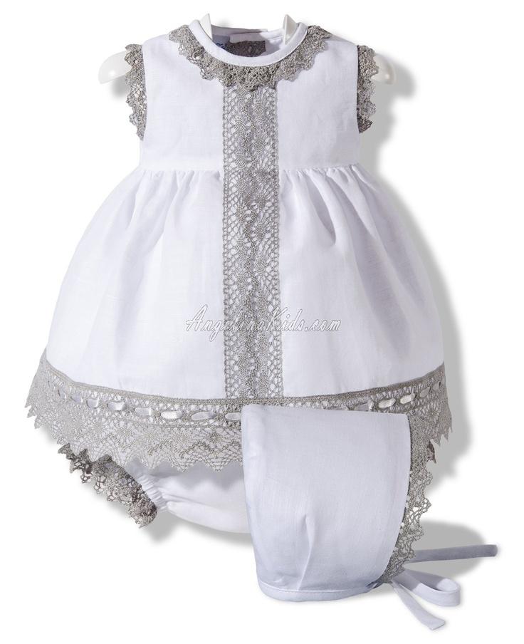 Vestido de lino blanco y gris