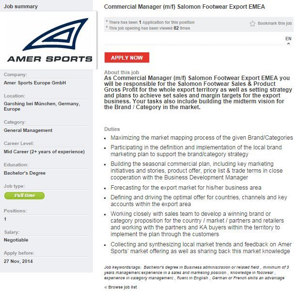 Amer Sports Commercial Manager Salomon Sport jobs on Sportyjob - commercial manager job description