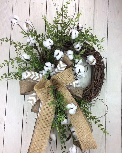How To Make A Rustic Cotton Wreath. Wreath CraftsWreath IdeasDecor ...