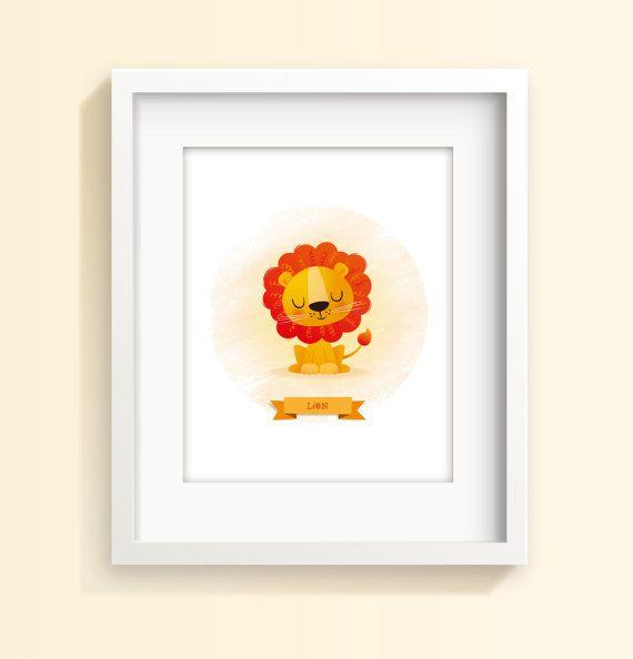 Nursery art Lion print kids illustration kids by IreneGoughPrints