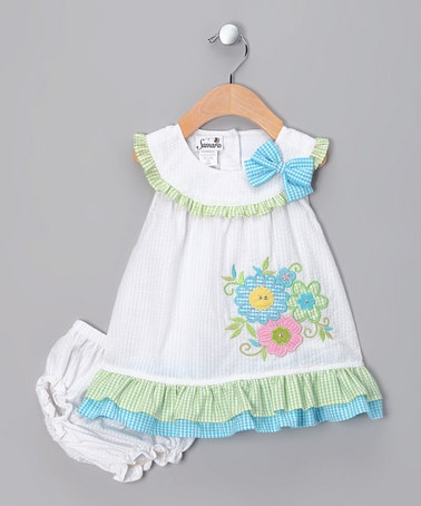 Take a look at this White Gingham Garden Dress - Infant by Samara on #zulily today!