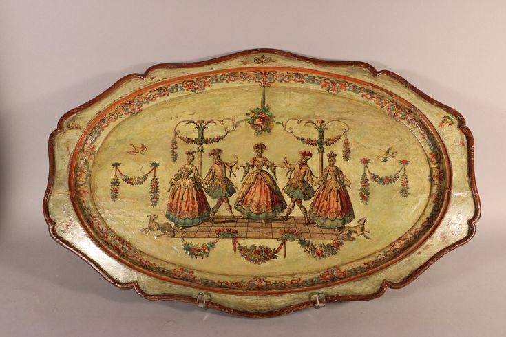 Brochure Plateau en bois, Arte Povera, XVIIIe siècle, Venise.  Ce plateau de forme ovale est en bois laqué selon une technique développée à Venise au milieu du XVIIIe siècle appelée «Arte Povera» ou «Lacca Povera». Sur un fond vernis, on colle des gravures colorées. L'ensemble est recouvert de plusieurs couches de vernis transparent, la …