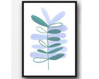 Scandinavische kunst, aquarel teal blauwe plant, aquarel giclee print, moderne minimalistische muur kunst Scandinavische afdrukken, keuken inrichting