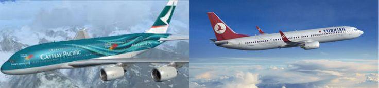 Hier ziet u de meest beroemde luchtvaartmaatschappijen. Cathay Pacific, is van Hong Kong, beroemd voor zijn veiligheid en omdat hij buiten de Europese landen reist. Turkish Airlines is van Turkije, beroemd voor het reizen naar Europese landen en omdat hij het Goedkoopste is.