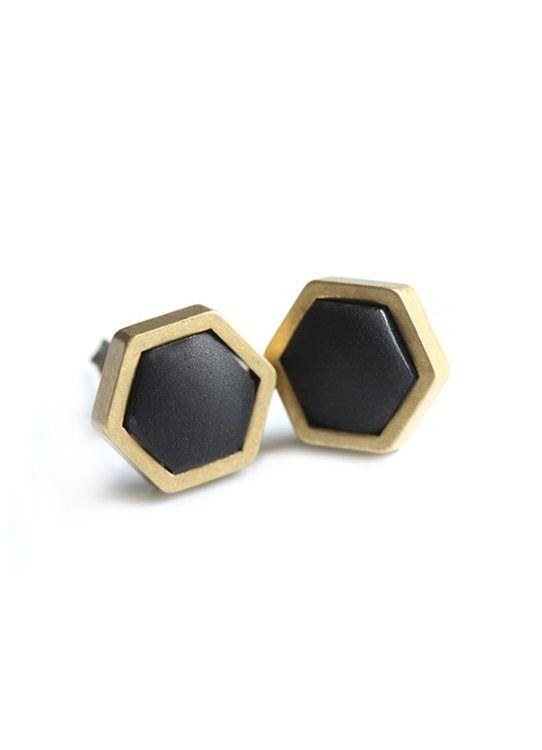 Black Geometric Studs www.cloudninecreative.co.nz