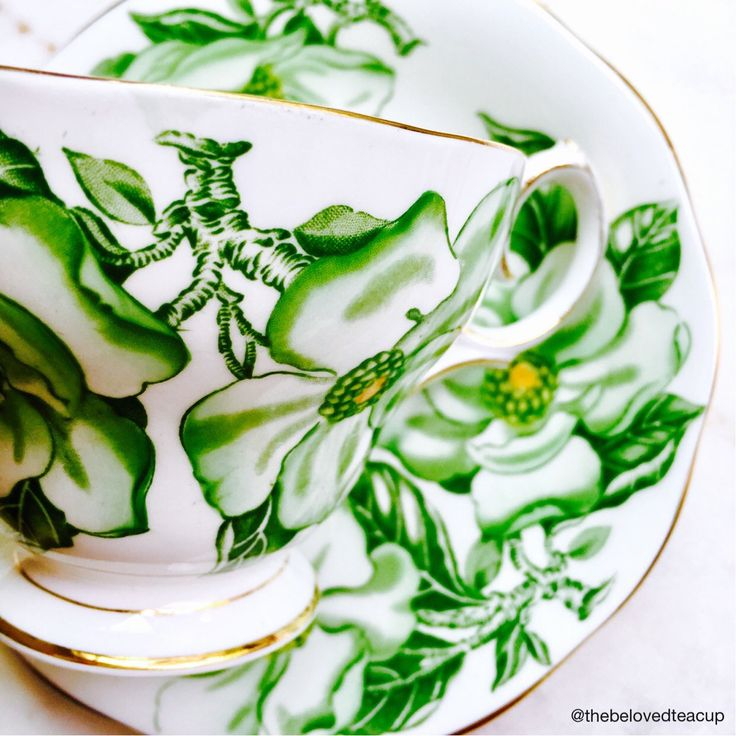 A personal favorite from my Etsy shop https://www.etsy.com/ca/listing/529543397/queen-anne-magnolia-green-floral-tea-cup