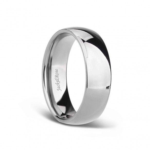 White Plain Titanium Wedding Bands For Men Women With Dome