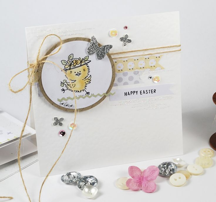 Fluffy Little Chicks Image Stamp with papers from 'Pretty Printemps'.